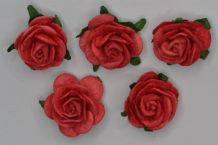 2.5cm CORAL RED Mulberry Paper Roses (only flower head)